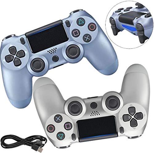 Manette PS4, Controller À Double Vibration, Manette De Jeu sans Fil avec Fonction Audio et Barre Lumineuse LED, Câble USB, Convient pour PS4/Pro/Slim,D