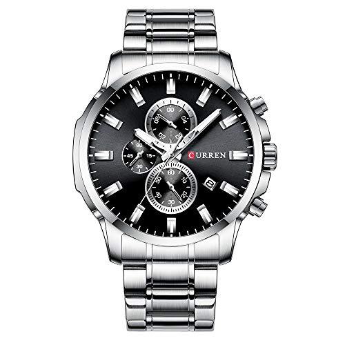 Curren 8348 Reloj de Pulsera de Cuarzo para Hombre Relojes con Correa de Acero Inoxidable Reloj para Hombre Indicador de Calendario de Fecha Tres subesferas Manos Luminosas Impermeables
