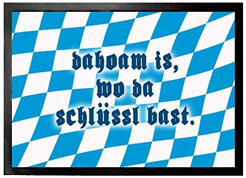 1art1 Bayern - Dahoam is Wo Da Schlüssl Bast Fußmatte Innenbereich & Außenbereich   Design Türmatte 70 x 50 cm