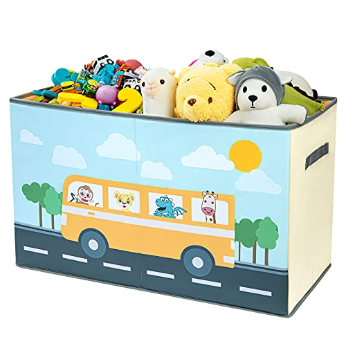 BBLIKE Large Kids Toy Chest Box , Foldable Storage Bins, Dog Toy Box, Toy Storage Organizer Can be used in Bedroom, Nursery, Playroom, Toy Basket with Divider, Toy Bin Box for Girls Boy 2612.615.7