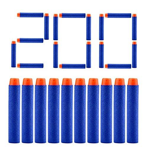 QUN FENG Refill Bullet Darts 200PCS Foam Premium Bullets Pack Compatible with Nerf N-Strike Modulus Elite Series Blasters Rebelle, Blue