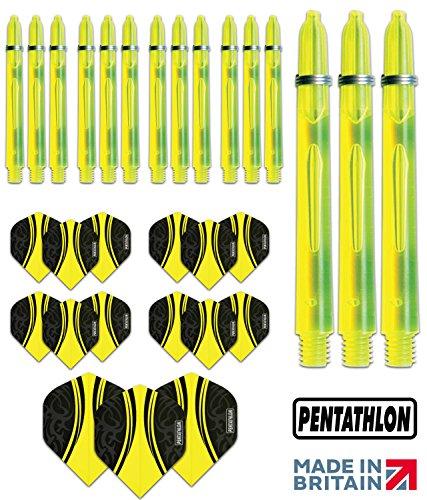Pentathlon Unisex-Adult tribal edgeglow schäften, Standard Dartflights 5 Sets mit Dartschäften (15 Stück), gelb, Klassisch Medium