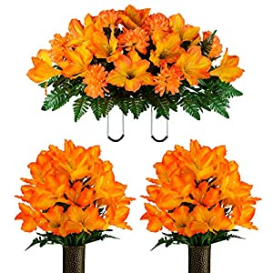 Sympathy Silks-Artificial Bouquet for Cemetery- Lasting Colors- 2 Sunset Orange Amaryllis Bouquets and Matching Saddle for Headstone