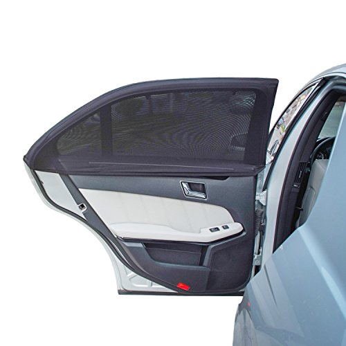 TFY Universal Car Side Window Sun Shade - Protects Your Kids from Sun Burn - Double Layer Design - Maximum Protection - Fit Most of Vehicle - 2 Pieces (Regular Contoured Window)