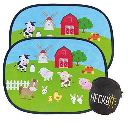 HECKBO Parasol Autoadhesivo para Coche - protección Solar para niños (2 Piezas)   Granja con animales   44x36cm   protección solar para ventanillas de coche   con Bolsa Incl