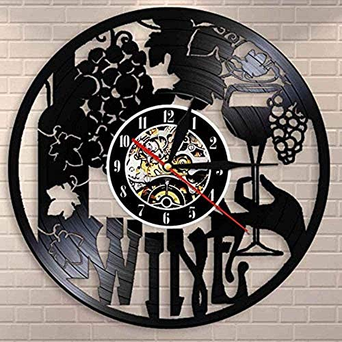 YDZYXY Regalo Reloj de Pared con Etiqueta de Vino Botella de Vino, Bebida de Vid, Licor de Vino, Etiqueta de Barra, Emblema, Reloj de Pared con Registro de Vinilo UGT389