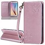 ISAKEN Compatibile con Samsung Galaxy S6 Custodia - Libro Flip Case Portafoglio Wallet Cov...