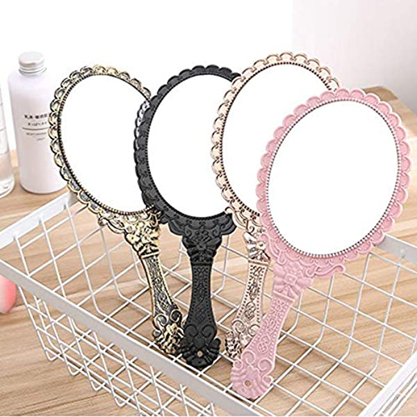 Creative Vintage Makeup Mirror Hand Hold Oval Shaped Mirror Ladies Beauty Tool