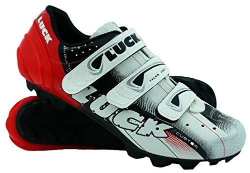 Zapatillas de Ciclismo LUCK Extreme 3.0 MTB,con Suela de Carbono y Triple Tira de Velcro de sujeción ademas de Puntera de Refuerzo. (43 EU, Rojo)