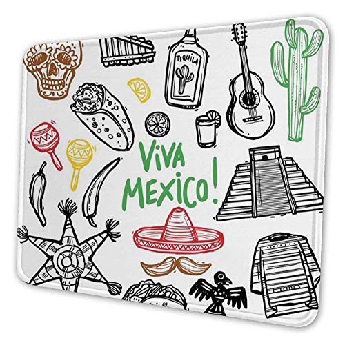 Mauspad, Mexikaner, Skizze Latein Objekt mit Burritos Gitarre Tequila Flasche Pinata Quetzal Coati, Mousepad