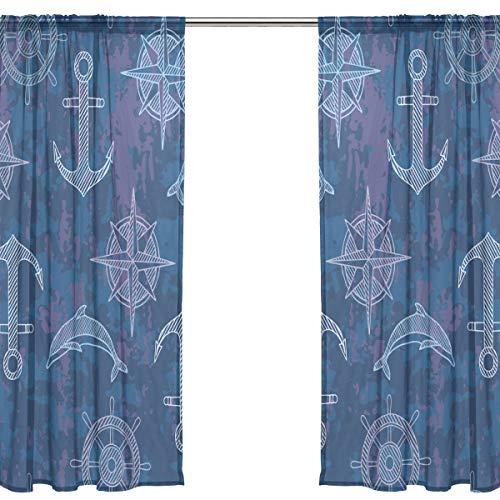 Orediy - Tenda a 2 pannelli in voile velato, con ancore, bussola, delfini, asta, tenda da soffitto, finestra, decorazione per camera da letto, soggiorno, 2* 140W x 213 H