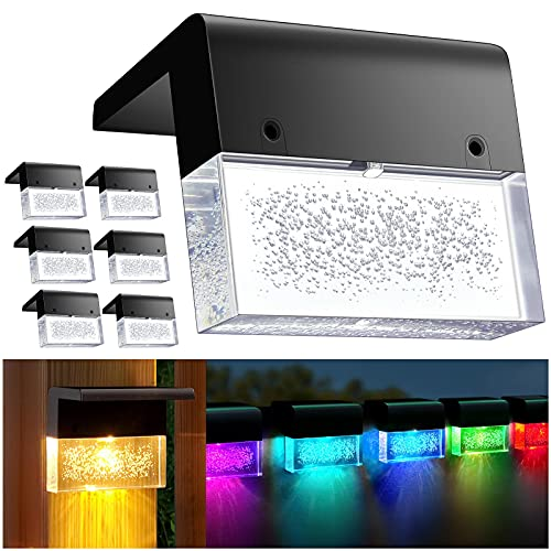 DenicMic Solar Deck Lights 6 Pack Outdoor LED Fence Lighting for Step, Patio, Railing, Wall, Color Glow Solar Lights Waterproof (Warm White/Color Changing)