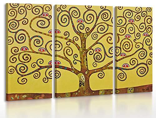 YS-Art | Dipinti a Mano Сolori acrilici Albero paradisiaco | Quadro Dipinto a Mano | 120x80 cm | Pittura | Dipinti Modern | Quadri Dipinti a Mano