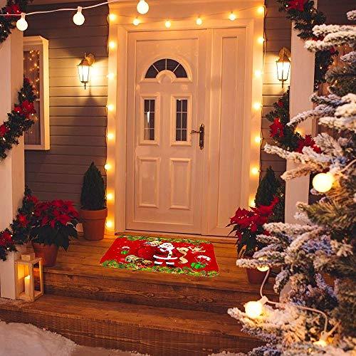 Navidad Antideslizante Felpudo, Alfombras de Decoración de Navidad Antideslizante y Absorbente, Alfombrillas Decorativas para el Salón el Baño la Cocina, Welcome Felpudo de Puerta (M6)