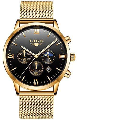 LIGE Herren Uhr Analog Quarz mit Mesh/Milanese Armband 9831