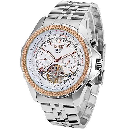 JARAGAR Reloj de pulsera de acero inoxidable con tres calendarios de esfera grande para hombre, automático, mecánico