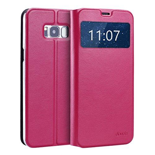 doupi FlipCase für Samsung Galaxy S8, Deluxe Schutzhülle mit Sichtfenster Magnet Verschluss Klappbar Book Style Aufstellbar Ständer, rot pink