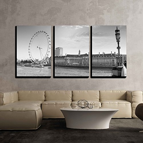 wall26-3 Piece Canvas Wall Art - View The London Aquarium and The London Eye from Westminster Bridge. - Modern Home Art Stretched and Framed Ready to Hang - 24'x36'x3 Panels