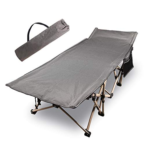 CAMPMOON Folding Camping Cots for Adults 500lbs, Heavy Duty Sturdy Portable Sleeping Cot for Camping Outdoor & Indoor, Travel Cot with Carry Bag, Double Oxford Fabric, Gray