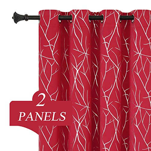 Estelar Textiler Branches Print Christmas Curtains for Living Room and Bedroom Thermal Insulated Blackout Curtains Noise Reducing Window Drapes 52W x 63L Inch Red 2 Panels