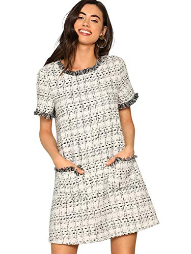 Floerns Women's Tweed Short Sleeve Shift Tunic Dress with Pockets Grey-2 L