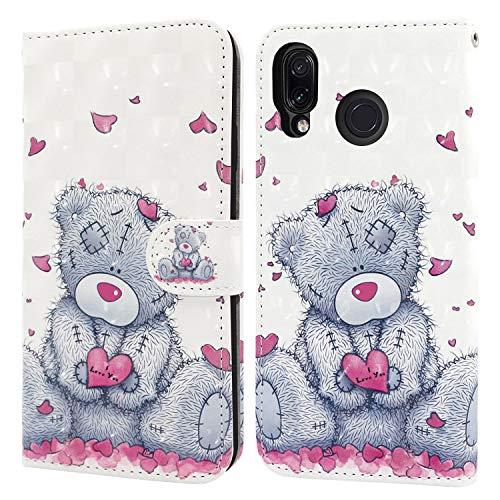 Ailisi Hülle für Redmi Note 7, Teddy Bear 3D Muster Handyhülle Schutzhülle PU Leder Wallet Hülle Flip Hülle Klapphüllen Brieftasche Ledertasche Tasche Etui im Bookstyle