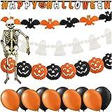 COM-FOUR® 15 piezas de decoración para Halloween - Vajilla de Halloween para niños - Halloween decoración infantil con garlanda, calabaza y más
