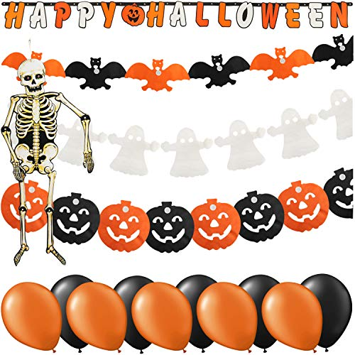 COM-FOUR® 15 piezas deco Halloween set con un esqueleto grande, globos y guirnaldas de fiesta como murciélagos, calabazas, fantasmas y pancartas Happy Halloween