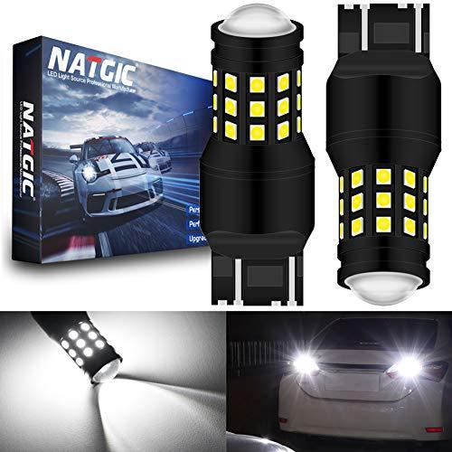 NATGIC 7443 7444NA 7440 7440NA 7441 992 Ampoule LED Blanc Xenon 2700LM 6500K 3030 27SMD avec Objectif Projecteur pour feu Stop Feu de recul Feu de Jour Feux de Jour 12V-24V (Paquet de 2)