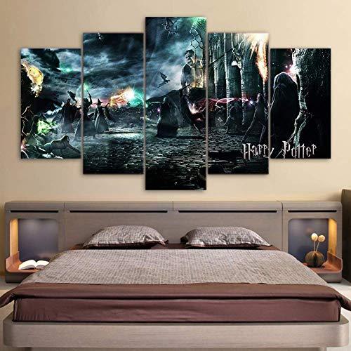 CXDM 5 Paneles Pelicula de Harry Potter Impresiones en Lienzo Pintura Mural de la Pared Decoración del hogar,B,10×15×2+10×20×2+10×25×1