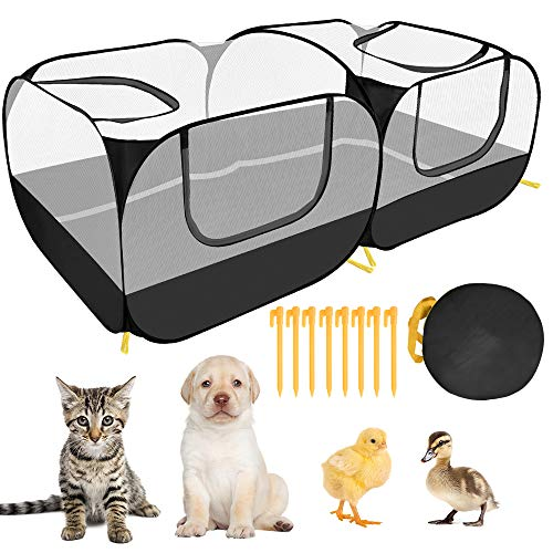 AUTOWT Small Animals Playpen, 2 in 1 Portable Large Chicken Run with Detachable Bottom Breathable Transparent Mesh Walls Foldable Pet Enclosure for Puppy Kitten Rabbits Indoor Outdoor Playing (Balck)