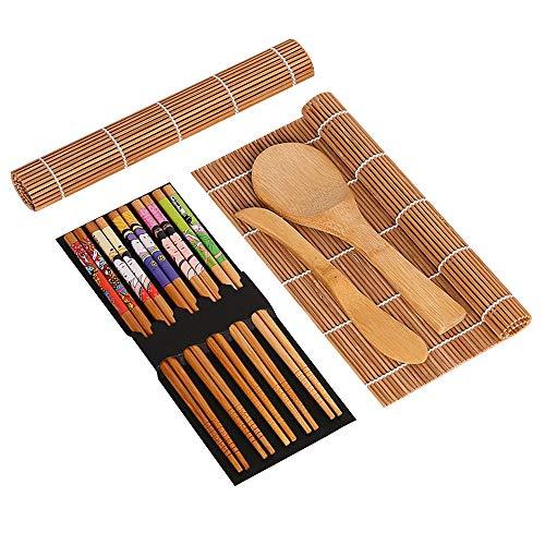 Kit de fabricação de sushi, Tapete de sushi de bambu, incluindo 2 tapetes de sushi, 5 pares de pauzinhos, 1 pá, 1 espalhador, rolo de espalhar, kit de sushi para iniciantes, ideal para iniciantes