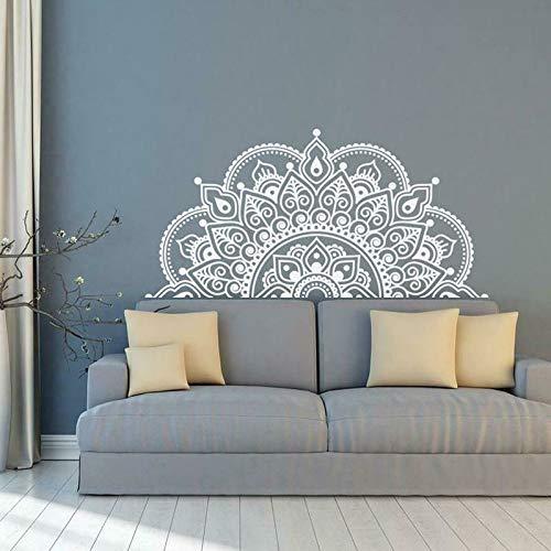 LSMYE Wandtattoos Mandala Half Mandala Vinyl Wandaufkleber Yoga Ideen Thema Wandbilder Home Decor zart rosa S 85cm X 42cm