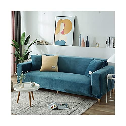 GSYNXYYA Sofabezug, rutschfeste Weiche Elastische Bottom-Möbel-Beschützer, Einfarbige Couch-Sofa-Cover Samt Wasserdicht Für Kinder Katzenhund,Blau,3seater 190~230cm