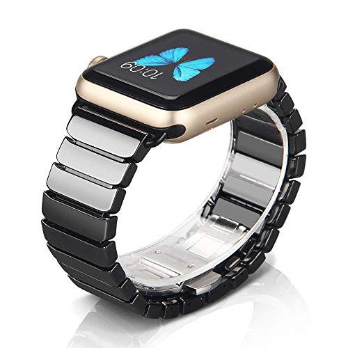 NotoCity Kompatibel Apple Watch SE Armband 38mm 42mm 40mm 44mm, hochwertigen Keramik Ersatz Uhrenarmbänder für Apple Watch Series 6 iWatch 5/4/3/2/1(Schwarz, 42/44mm)