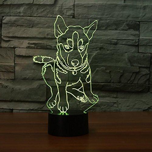 Dierenhond 3D illusie lamp LED nachtlampje met 7 kleuren wijzigen en afstandsbediening verjaardag en kerstcadeau voor kinderen slaapkamer decoratieve tafellamp
