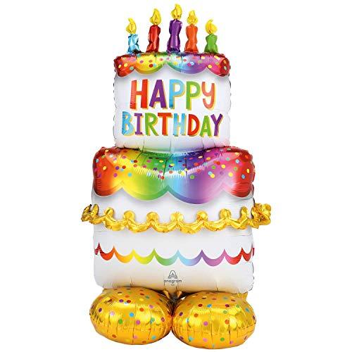 Amscan 4244911 - Folienballon Geburtstagskuchen, Größe ca. 130 cm, mehrfarbiger AirLoonz-Ballon, mit Helium oder Luft befüllbar, Geschenk, Dekoration, Geburtstag, Torte, Happy Birthday