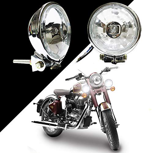 VAISHNU Fog Lights (CHROME EDITION) For Royal Enfield Bikes with German Imported 55 W HALOGEN Bulb   Waterproof & Heavy Duty   3.5 Inch   Pack of 2 Pcs   Made in INDIA