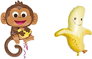 "36"" Happy Monkey & 30"" Banana Mylar Foil Balloon 2 Piece Bundle Set"