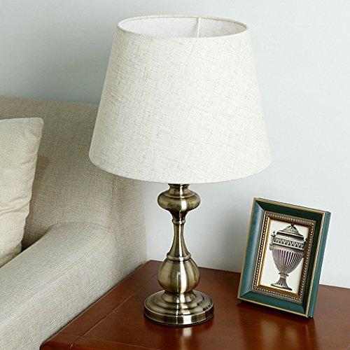 Lampada da tavolo in tessuto paralume E27 lampada da comodino placcata in bronzo per soggiorno camera da letto studio, design in stile tradizionale americano