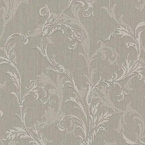 Casa Padrino Barock Textiltapete Grau/Silber 10,05 x 0,53 m - Hochwertige Wohnzimmer Tapete im Barockstil