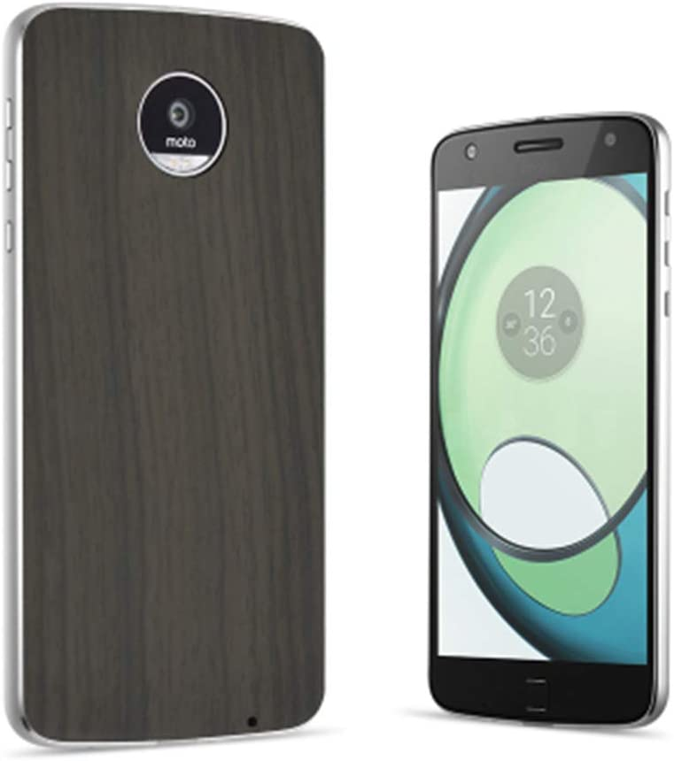 Moto Z2 Force Case Z2 Z3 Play Droid Mod Style Shell Magnetic Adsorption Back Plate Ultra Thin Back Cover for Motorola Moto Z Series Smart Phone (Gray Wood Grain)