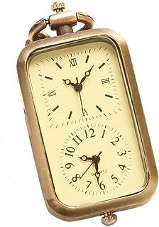 Vintage Bronze Quartz Pocket Watch Dual Double Time Zone Movement Necklace