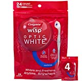 Colgate Optic White Wisp Disposable Mini Toothbrush, Cool Mint - 24Count (4 Pack)