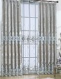 Lactraum Cortina para salón de lujo, vintage, clásica, con bordado de flores, opaca, con cinta fruncidora