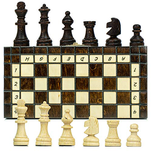 Amazinggirl Schachspiel Schach Reise Taschenschach aus Holz 20 cm - Reiseschach Travel Pocket Chess Set klappbar Mini Schachbrett mit Schachfiguren