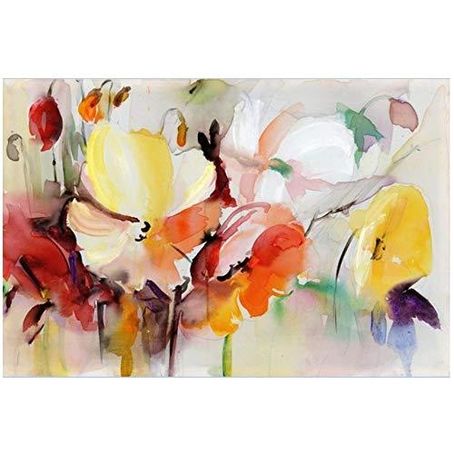 """ZHANGPENGBOFBH malerei auf leinwand Abstrakte aquarell Blume öl Moderne wandkunst Blume Bild für Wohnzimmer Wand Poster dekor 60x80 cm (23,6\""""x31,5) Kein Rahmen"""
