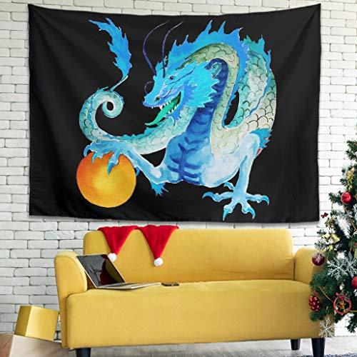 Tapiz de acuarela azul dragón de energía pintura para salón decoración bohemio blanco 150 x 130 cm