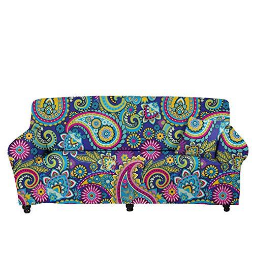 chaqlin Protector de muebles elástico universal para 2 plazas, diseño de cachemira, fundas de sofá elásticas de microfibra, para sillón, sofá o sofá grande, fundas de sofá para mascotas y perros
