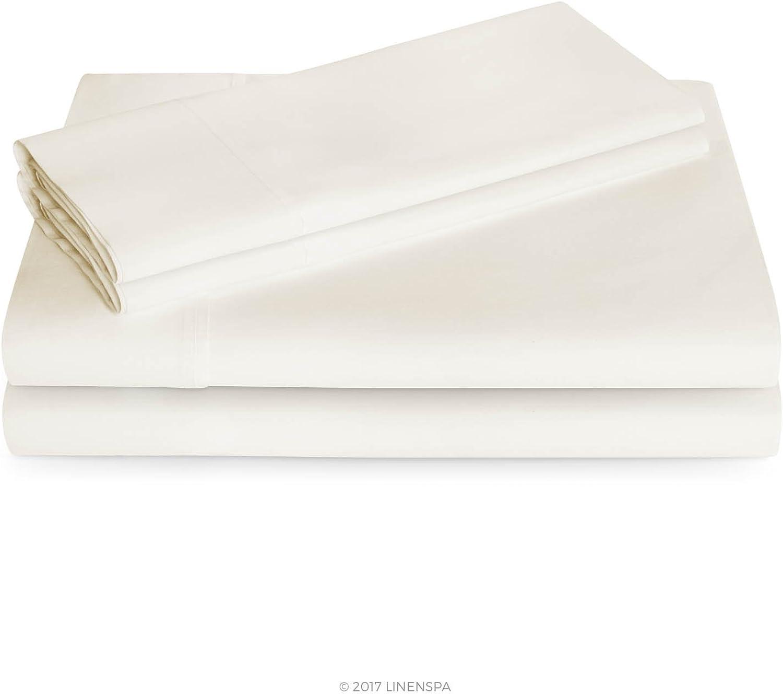 Linenspa 600 Thread Count Ultra Soft, Deep Pocket Cotton Blend Sheet Set - King - Ivory
